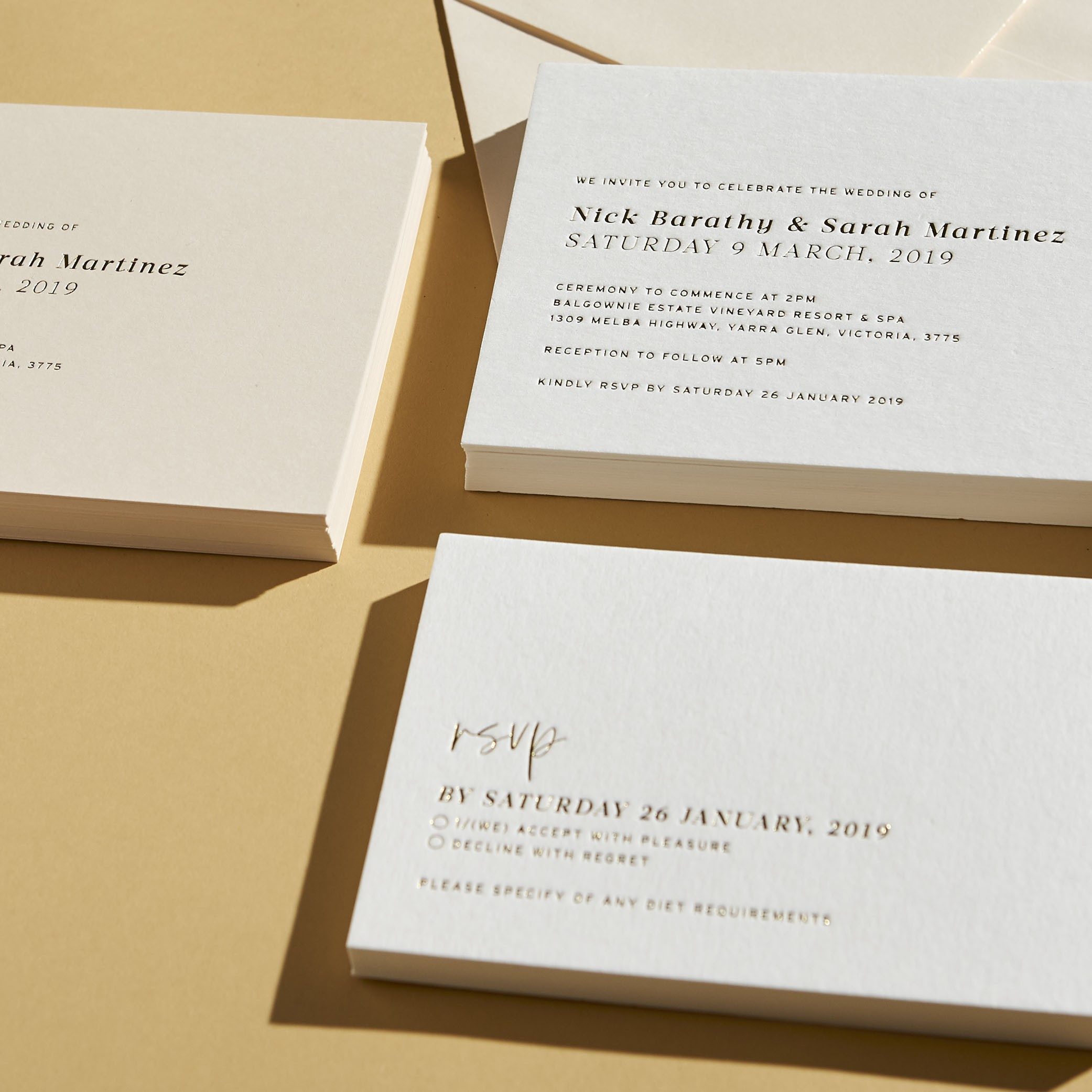 RESPONSE CARDS | Love Letters Foiling