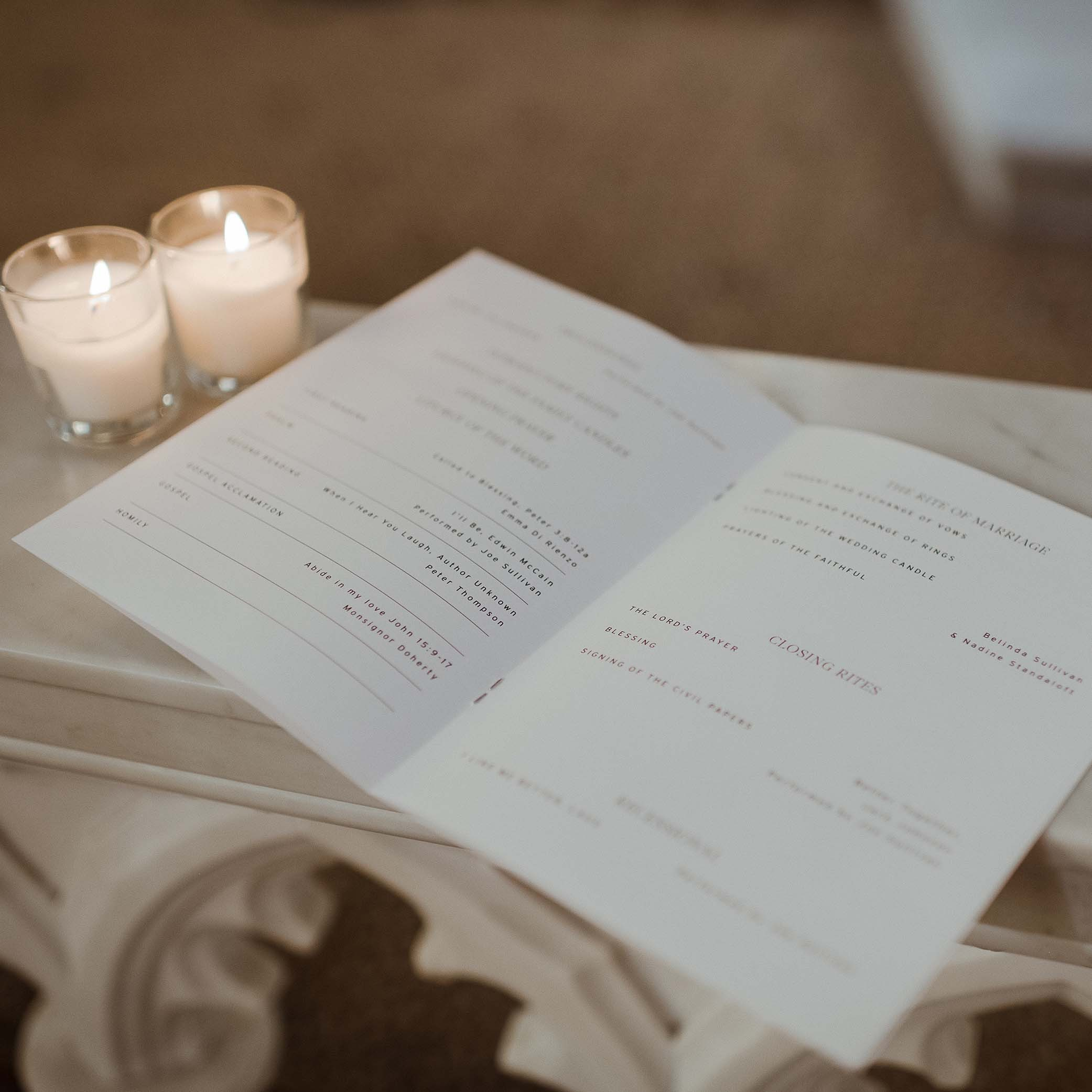 A5 CEREMONY BOOKS | Leah + Nathan