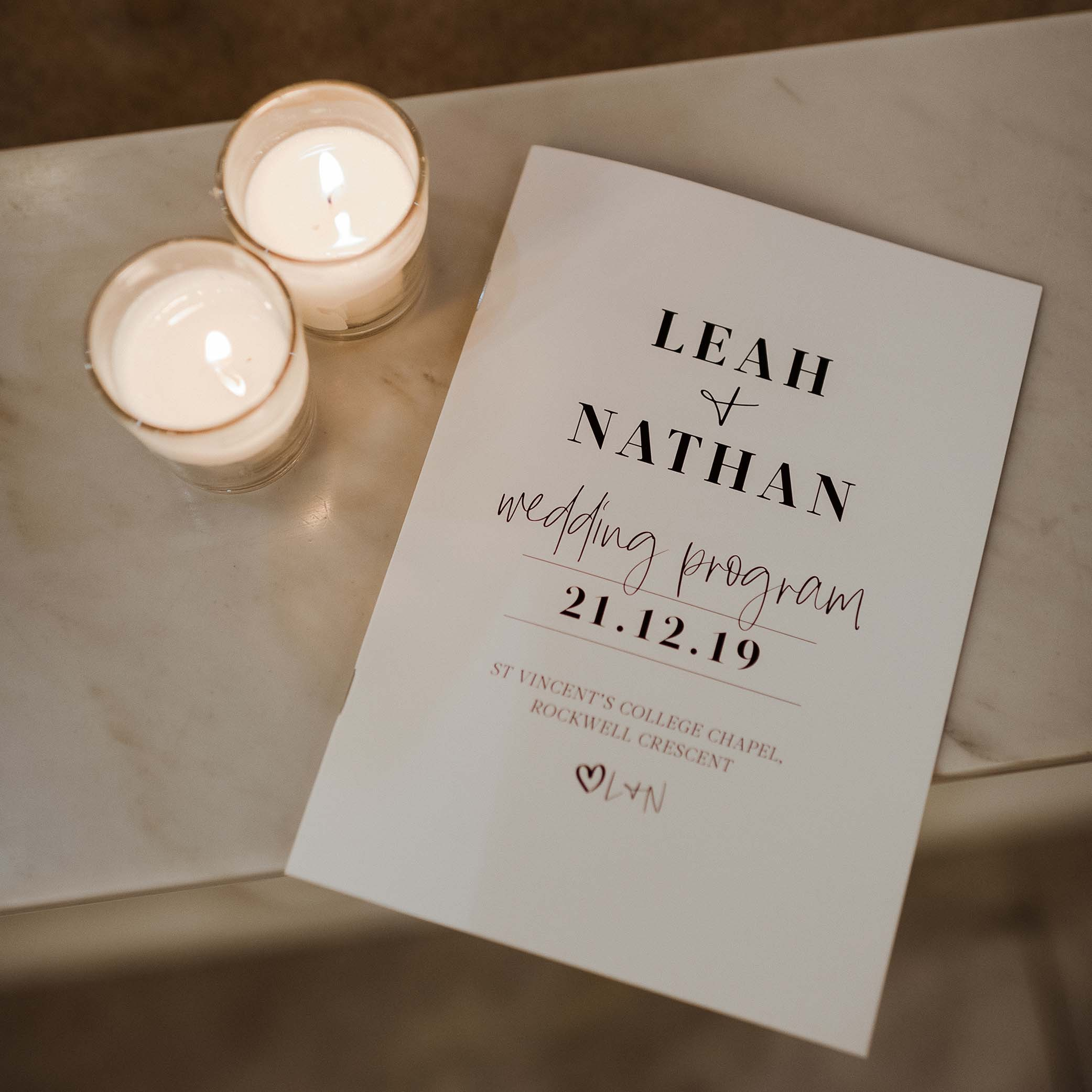 Reception Stationery - A5 CEREMONY BOOKS | Leah + Nathan