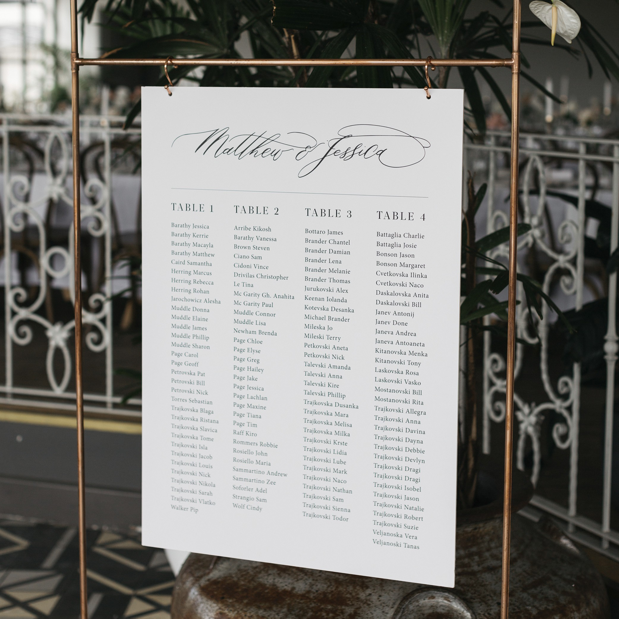 Reception Stationery - SEATING CHART | Mr + Mrs Barathy