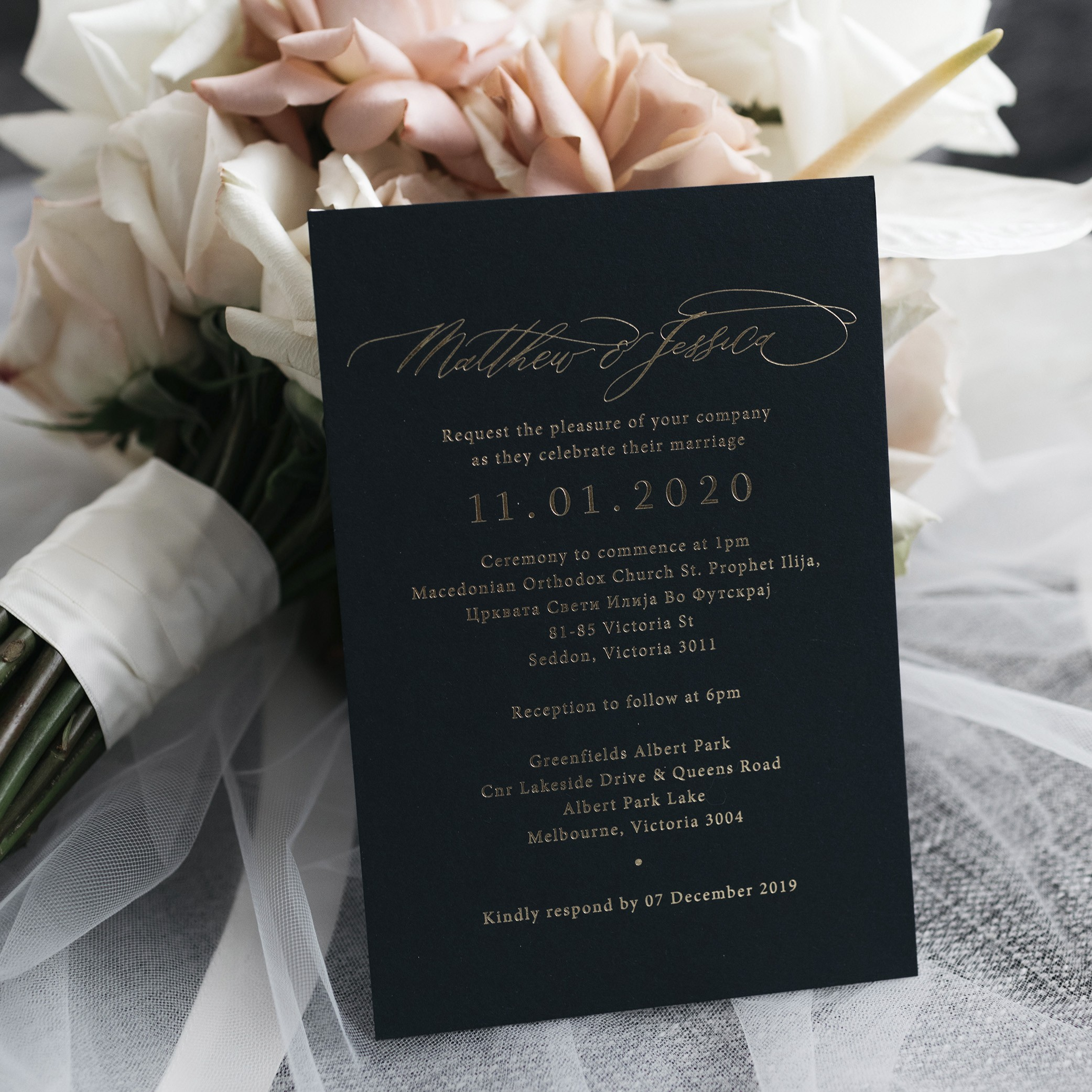 Wedding Invitations - NAVY INVITATION | Mr + Mrs Barathy