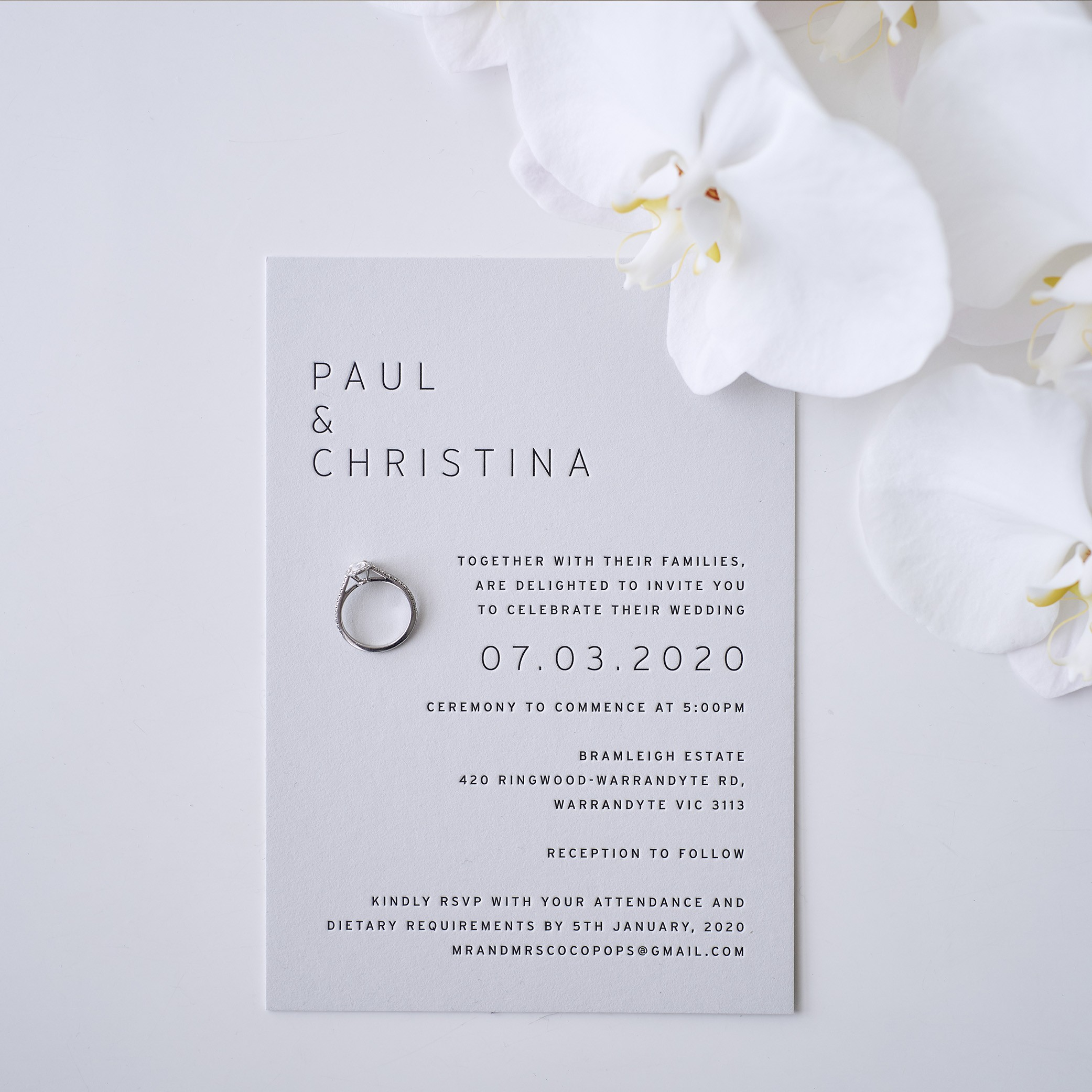 Wedding Invitations - MAIN INVITATION | Paul + Christina