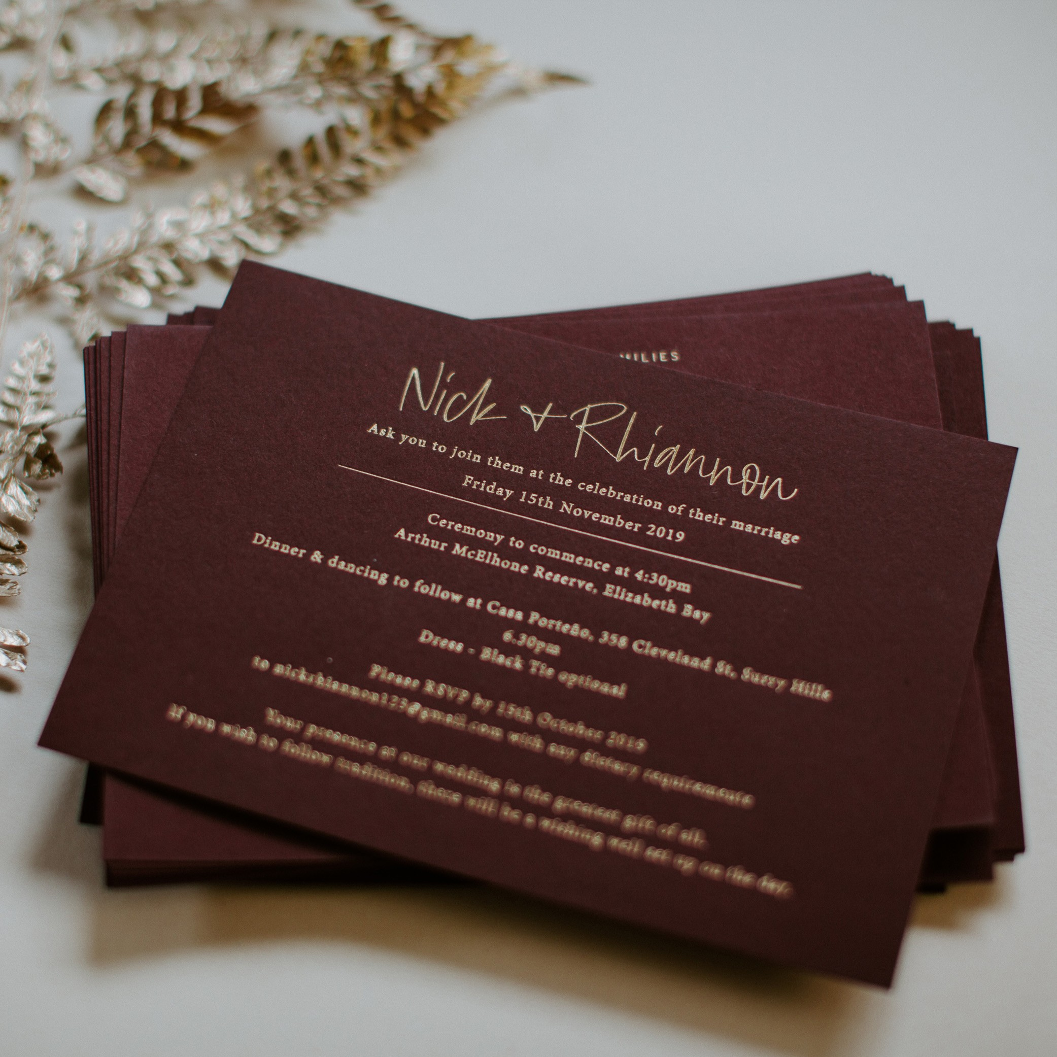 MAIN INVITATION | Rhainnon + Nick