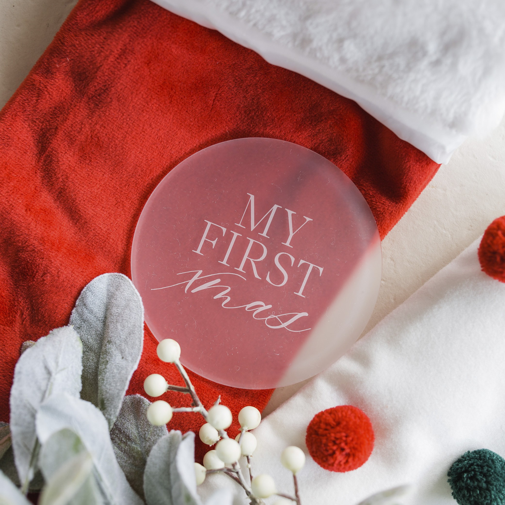 CHRISTMAS - MY FIRST XMAS | FROSTED ACRYLIC MILESTONE PLATES